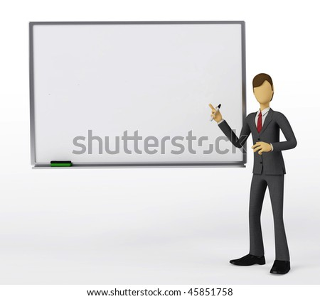 Businessman writing in a blank template of Whiteboard. You can change the screen to suit your purpose.