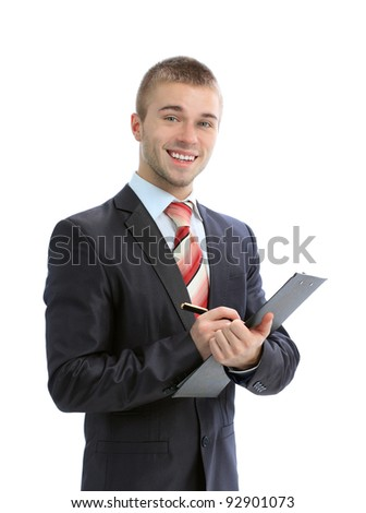 Businessman writing in clipboard isolated on white background