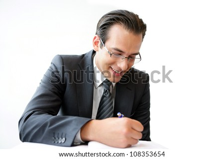 businessman writing isolated on white