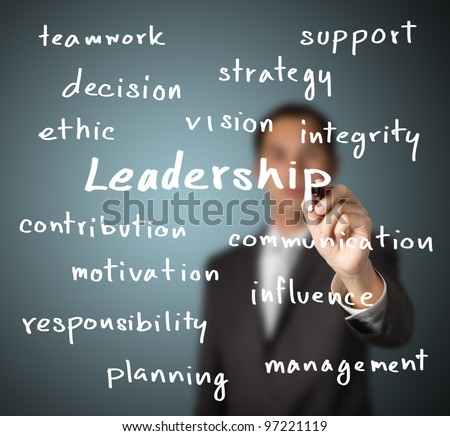 businessman writing leadership skill concept