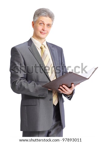 businessman writing on clipboard isolated over white background