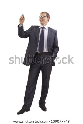 Businessman writing on full growth isolated white background