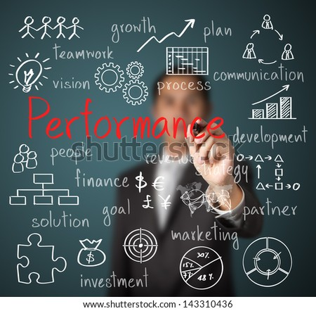 businessman writing performance business scheme