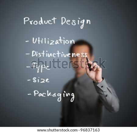 businessman writing product design concept on whiteboard