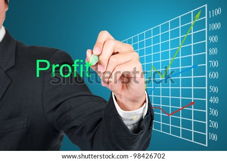 Businessman writing profit concept and growing business graph.