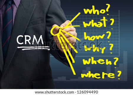 Businessman writing question for customer relationship management concept