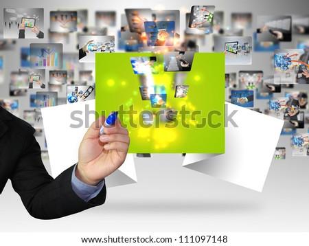 Businessman writing social media