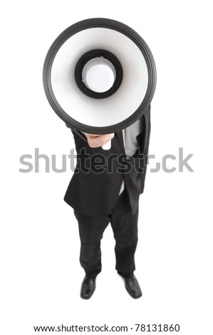 businessman yelling an announcement by megaphone