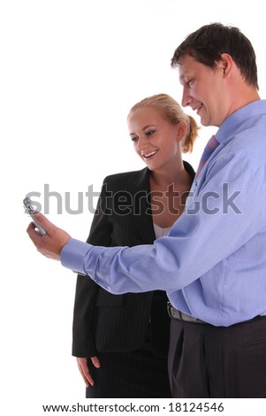 Businessmen and businesswoman look in a mobile phone 2