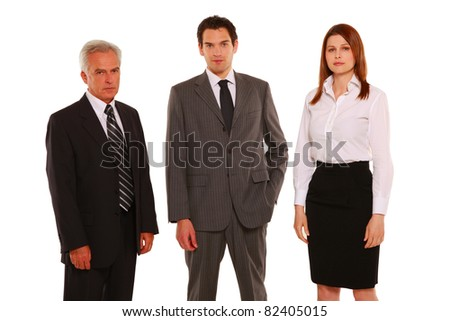 businessmen and businesswoman standing