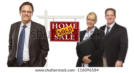 Businessmen and Businesswoman with Sold Home For Sale Real Estate Sign Isolated on a White Background. - stock photo