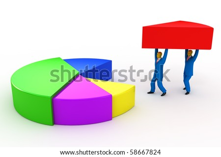 Businessmen and pie chart