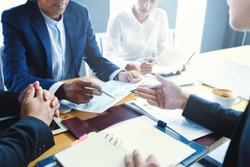 Businessmen are meeting negotiations on trade and investment.Concepts. Business meetings, planning, negotiating