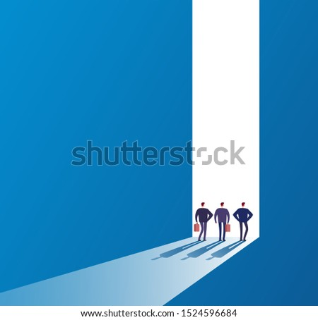 Businessmen at open door. Future path, new journey and successful ideas. Business unknown opportunities concept