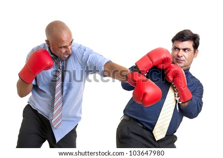 Businessmen boxing isolated in white