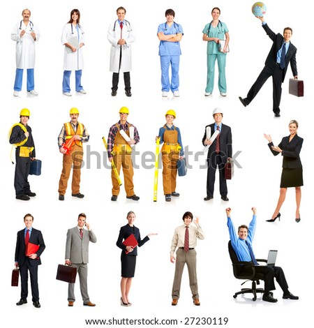 Businessmen, builders, nurses, architect. Isolated over white background