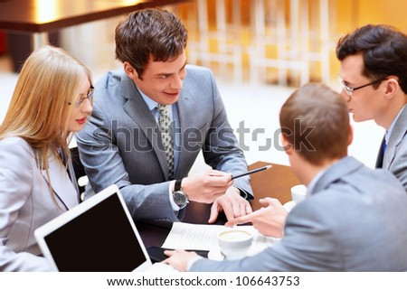 Businessmen discussing in the office
