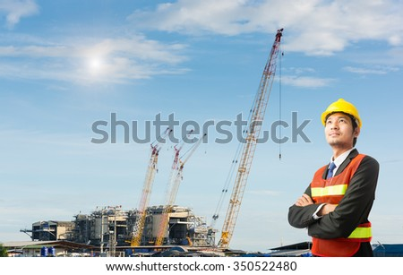 Businessmen engineering standing handsome smile in front of builders at construction site looking away