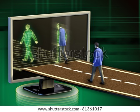 Businessmen entering into the digital world. Digital illustration.