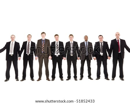 Businessmen in a row holding hands isolated on white background