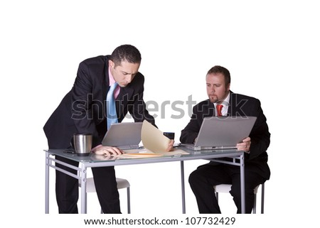 Businessmen in an Office Working Together - Isolated Background