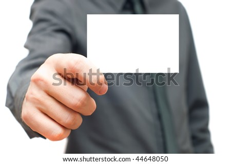 Businessmen in the dark shirt holding business card