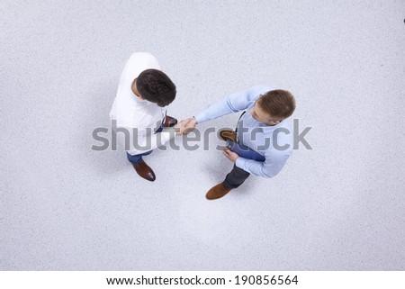 Businessmen indoors shaking hands