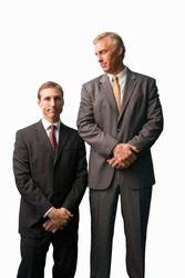 Businessmen posing, tall, small, cut out