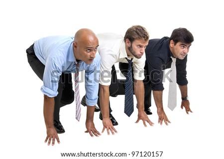Businessmen prepared in start line to compete