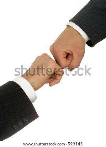Businessmen's hands fighting