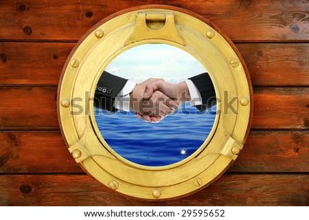 Businessmen seascape handshake view from boat round window [Photo Illustration]