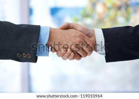 Businessmen shaking hand, closeup hands, business success, congratulation, agreement, deal.
