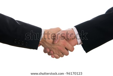 Businessmen shaking hands after signing the contract isolated on white