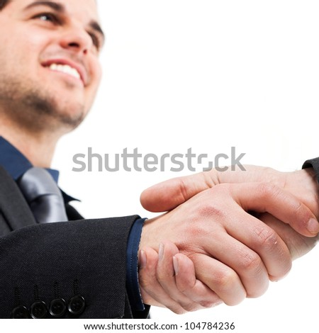 Businessmen shaking hands. Isolated on white