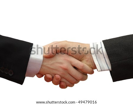 Businessmen shaking hands isolated on white Background