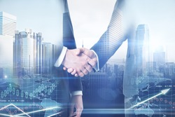 Businessmen shaking hands on abstract city and forex chart background. Teamwork concept. Double exposure
