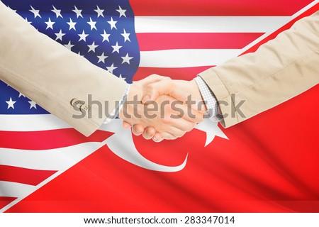 Businessmen shaking hands - United States and Turkey