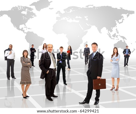Businessmen standing in front of an earth map