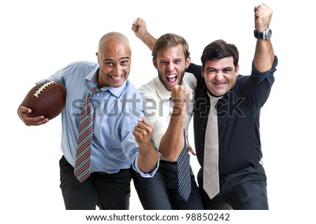 Businessmen team of rugby fans isolated in white