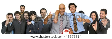 Businessmen team with soccer ball isolated in white