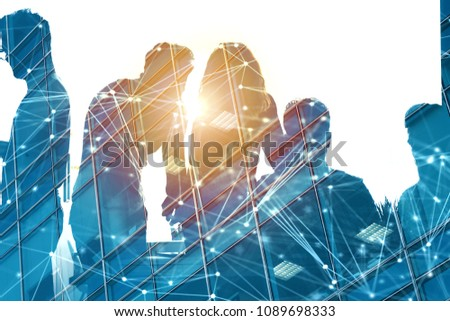 Businessmen that work together in office with network effect. Concept of teamwork and partnership. double exposure #1089698333