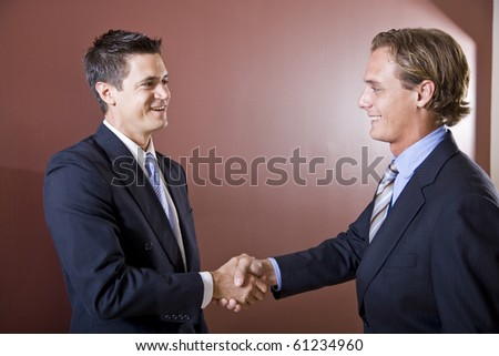 Businessmen wearing suits shaking hands