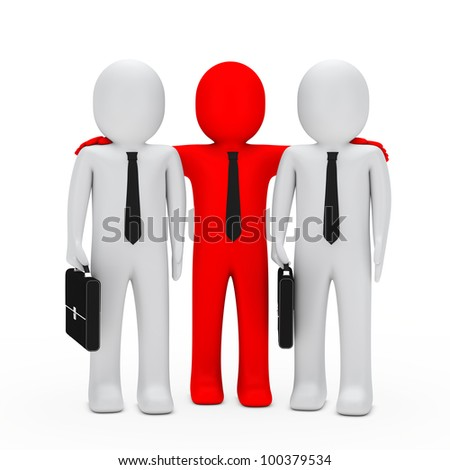 businessmen with black briefcase red leader