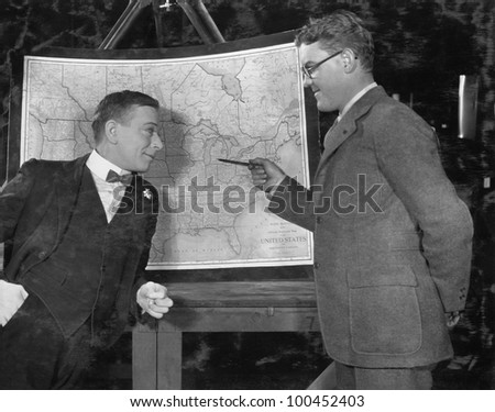 Businessmen with US map