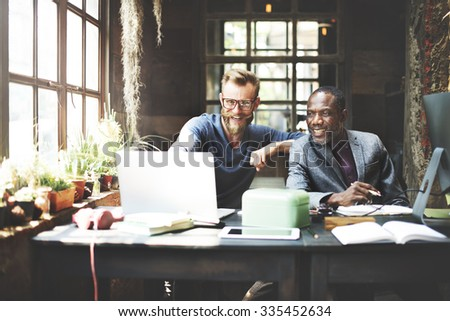 Businessmen Working Determine Workspace Lifestyle Concept