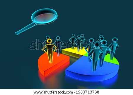 Businesspeople Analyzing Market Segment Using Magnifying Glass. Different groups of 3D men occupy different shares in the business schedule. 3d rendering
