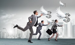 Businesspeople chasing angel investor funding