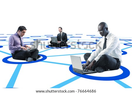businesspeople connected on 3d virtual web