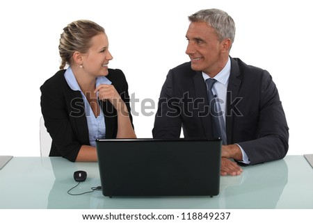 Businesspeople having a discussion - stock photo