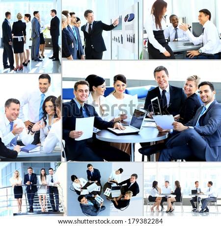 businesspeople having meeting in modern office 179382284